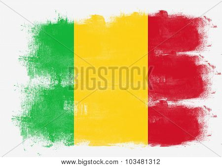 Flag Of Mali Painted With Brush