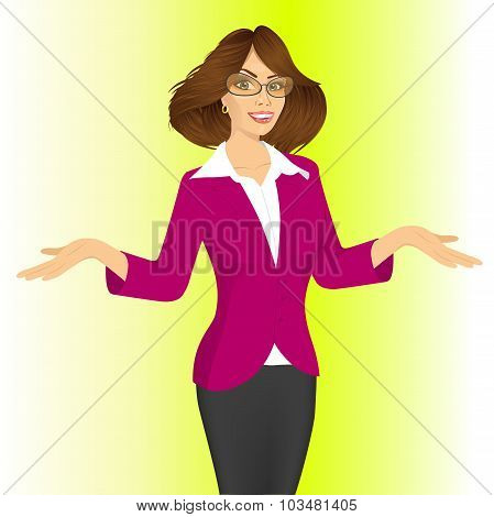 business woman showing something