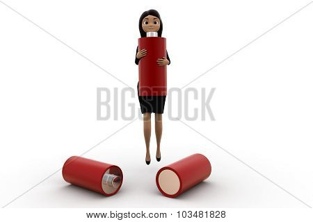 3D Woman With Battery Concept
