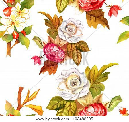 Vintage-styled watercolour roses seamless background pattern