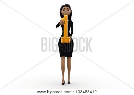 3D Woman Holding Number 1 Concept
