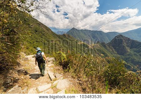 Backpacker Exploring Machu Picchu Trails, Peru