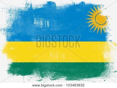 Flag Of Rwanda Painted With Brush