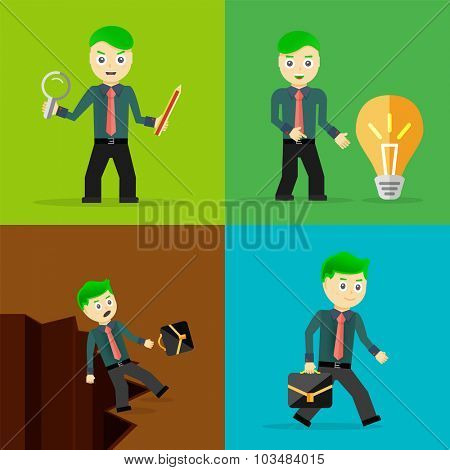 Set of businessman pose character concepts. Step, world, office and charts. Flat design
