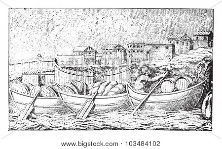Boats and city, vintage engraving.