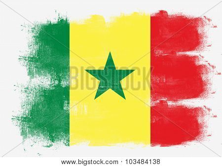 Flag Of Senegal Painted With Brush