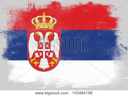Flag Of Serbia Painted With Brush