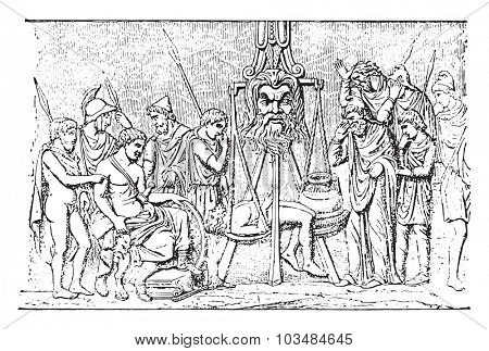 Judgement of the vase of Bernay, vintage engraved illustration.