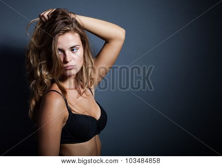 Portrait Of Hot Woman In Lingerie, Dark Background