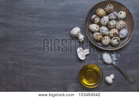 Plate With Quail Eggs, Salt, Olive Oil And Mushrooms