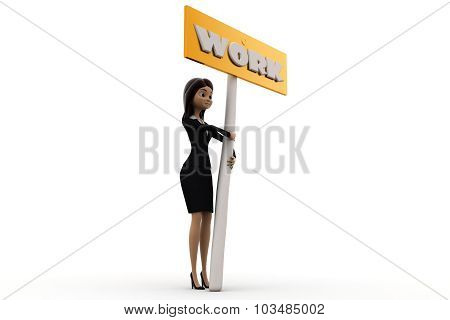 3D Woman With Work Sign Board Concept