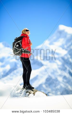 Woman Success Portrait On Mountain Peak