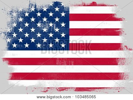 Flag Of United States Painted With Brush