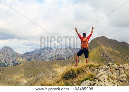 Hiking Success, Man Runner In Mountains