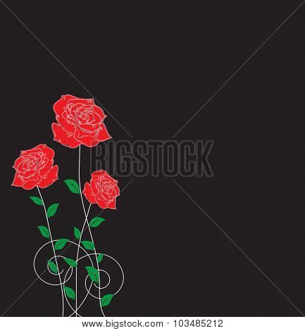 Vintage invitation card with elegant abstract floral design, red rose flowers on black. Vector illustration.
