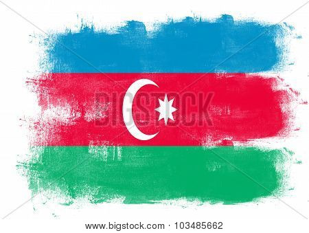 Flag Of Azerbaijan Painted With Brush