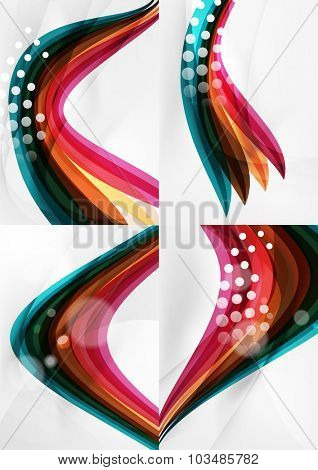 Set of abstract backgrounds. Curve wave lines with light and shadow effects, rainbow style stripes and flares