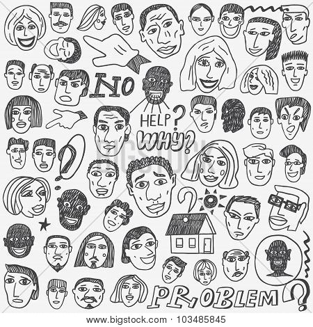people faces doodles set