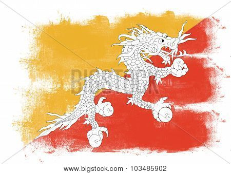 Flag Of Bhutan Painted With Brush