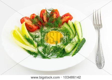 Delicious Egg With Vegetable Close-up, Fork, Isolated On White