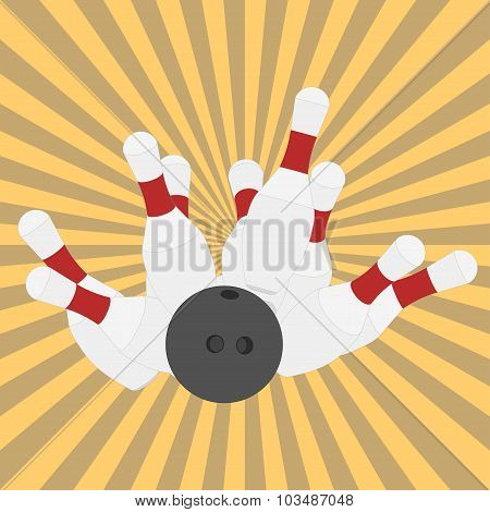 Bowling ball and pins - vector
