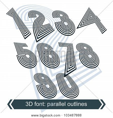 Geometric Retro Style Graphic Numbers In Rotation, Vector Striped Doodle Numeration.