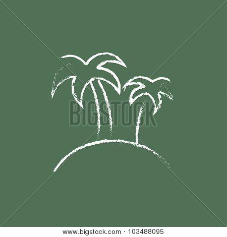Two palm trees on an island hand drawn in chalk on a blackboard vector white icon isolated on a green background.