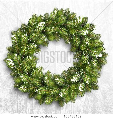 Christmas wreath in snow on white wooden background. Vector Illustration