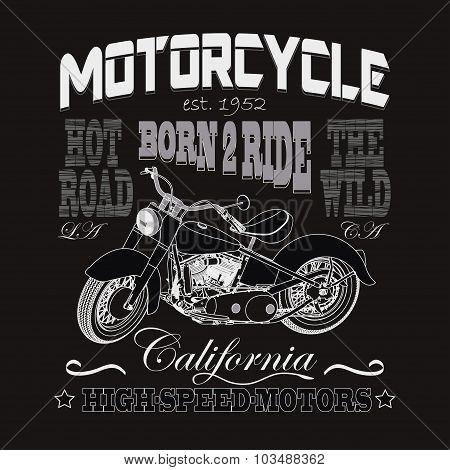 Motorcycle Racing Typography, California Motors. Bikers wear. ve
