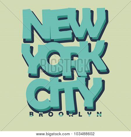 New York City Typography T-shirt Printing Design - vector