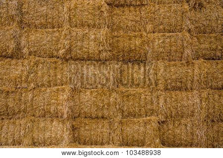 Stacks of hay.