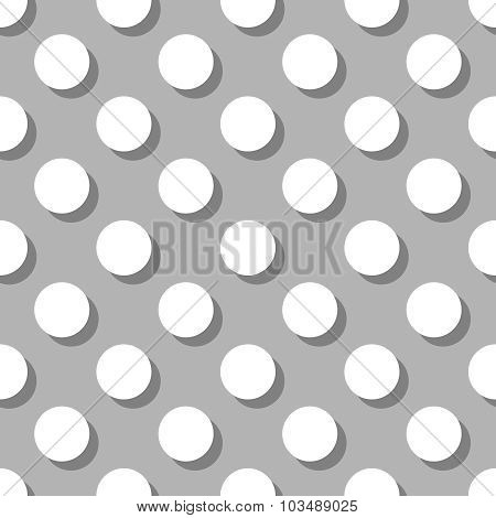 Seamless white and grey vector pattern or background with big polka dots with shadow