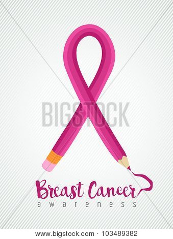Breast Cancer Awareness Ribbon Education Concept