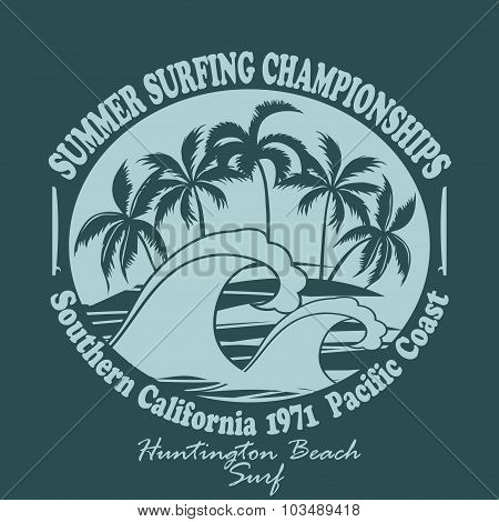 Surfers wear typography emblem Huntington Beach- vector illustra