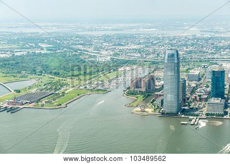 Aerial view on Jersey City in New York