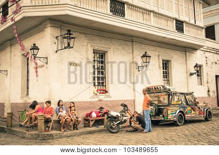 Manila, Philippines - 29 January, 2014: Everyday Street Life In The District Of Intramuros