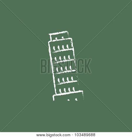 Leaning Tower of Pisa hand drawn in chalk on a blackboard vector white icon isolated on a green background.