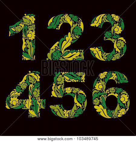 Vector Numeration Decorated With Seasonal Spring Leaves, 1, 2, 3, 4, 5, 6. Vintage Ornamental Number