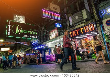 Pattaya, Thailand - January 17, 2015: Multicolored Neon Signs Near Insomnia On The Walking Street