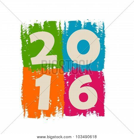 New Year 2016 In Drawn Colorful Banner