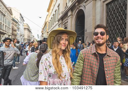 People Gather Outside Trussardi Fashion Show Building In Milan, Italy