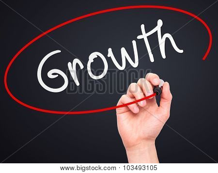 Man Hand writing Growth with marker on transparent wipe board.