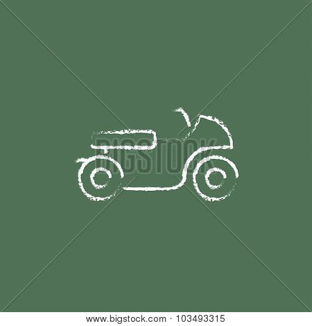 Motorcycle hand drawn in chalk on a blackboard vector white icon isolated on a green background.