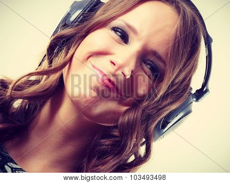 Woman In Big Headphones Listening Music Mp3 Relaxing