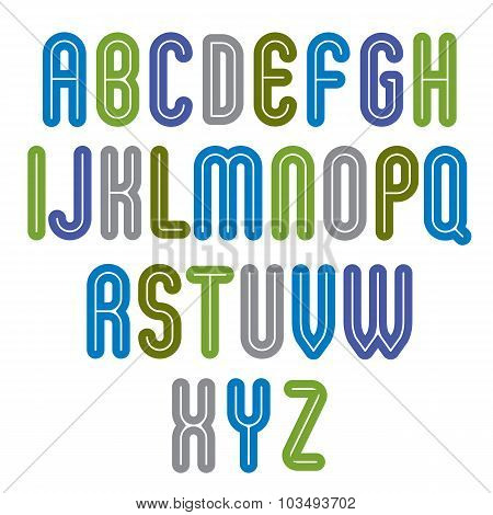 Rounded Vivid Striped Distinct Font, Geometric Bold Bright Typeface. Classic Colorful Calligraphic U