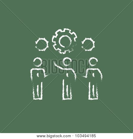 Businessmen under the gear hand drawn in chalk on a blackboard vector white icon isolated on a green background.