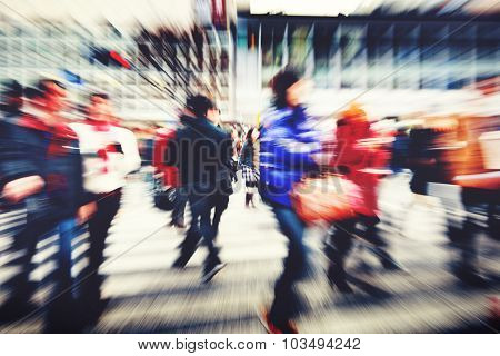 Large Crowd Walking in a City Lifestyle Concept