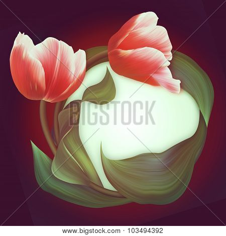 Beautiful Frame Of The Red Tulips. Fresh Spring Banner. Love Card, Postcard, Birthday Card.