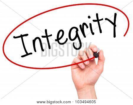 Man Hand writing Integrity black marker on visual screen.