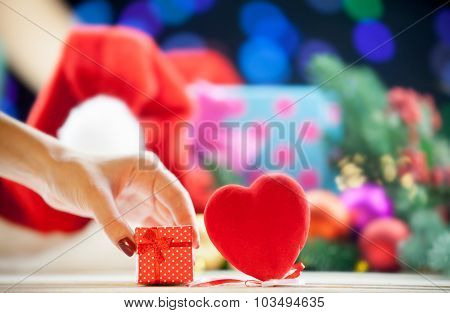 Gift Box Near A Heart Shape Toy